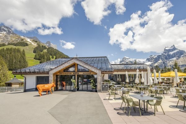 SunStyle solar tiles on the roof of Ristis Restaurant at Brunni