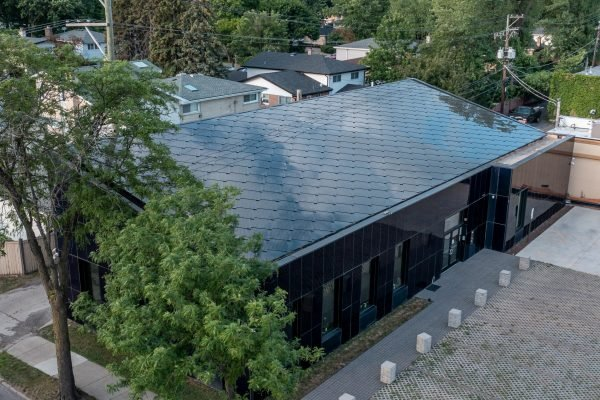 SunStyle solar tiles on a sustainable commercial bank in Skokie, Illinois USA from an aerial view of the solar roof