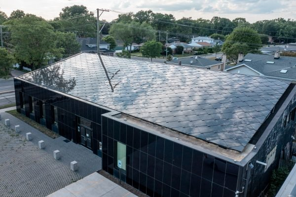 SunStyle solar tiles on a sustainable commercial bank in Skokie, Illinois USA from an aerial view