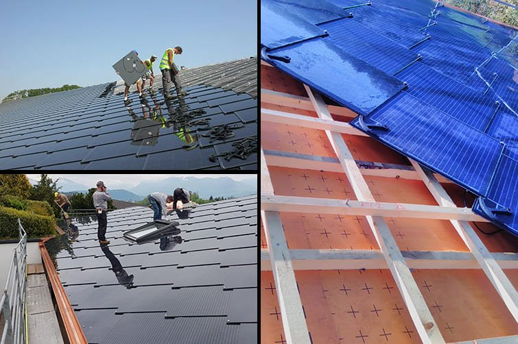 SunStyle Photovoltaic Solar Roof BIPV Installation Collage